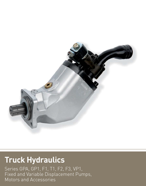 Truck Hydraulics Series GPA, GP1, F1, T1, F2, F3, VP1, Fixed and Variable Displacement Pumps, Motors and Accessories